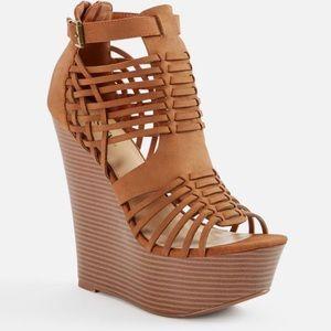 Strappy brown wedge heels